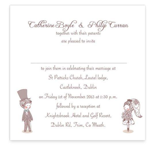 Cute Couple Flat Wedding Invite Sample