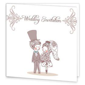 Cute Couple Folding Wedding Invite Sample