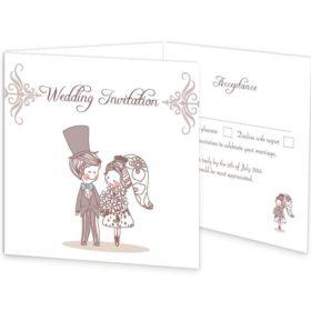 Cute Couple Tri-fold Wedding Invite & RSVP