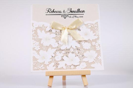 Floral laser cut wedding invitation sample