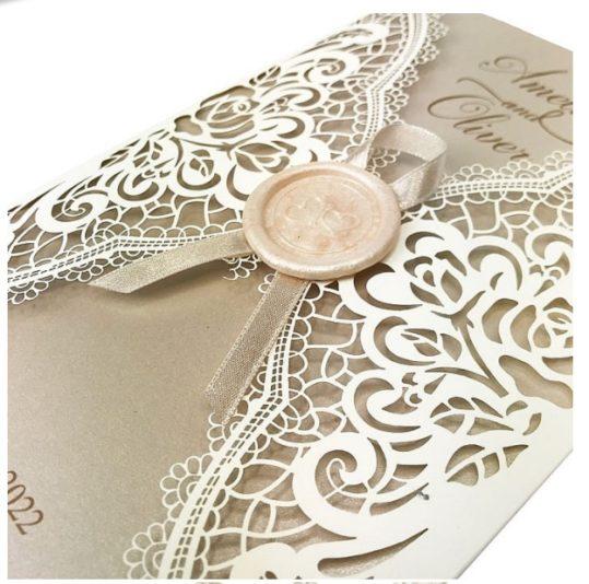 Etched Floral Laser Cut Wedding invitations