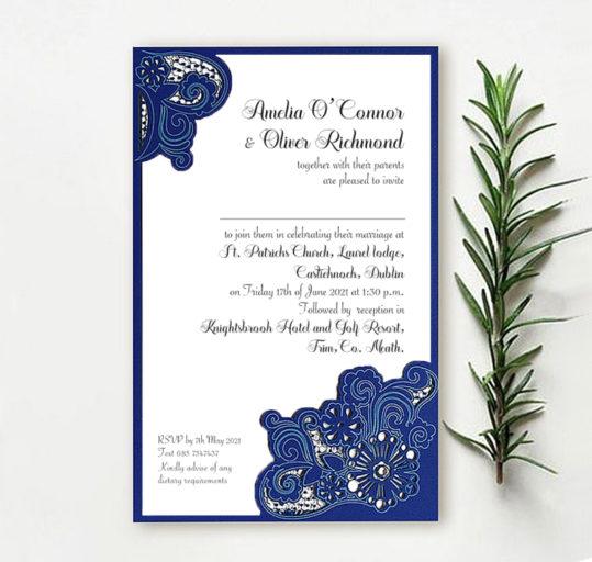 Royal blue laser cut wedding invite