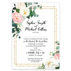 Blushing Greenery Flat Wedding Invitation_front