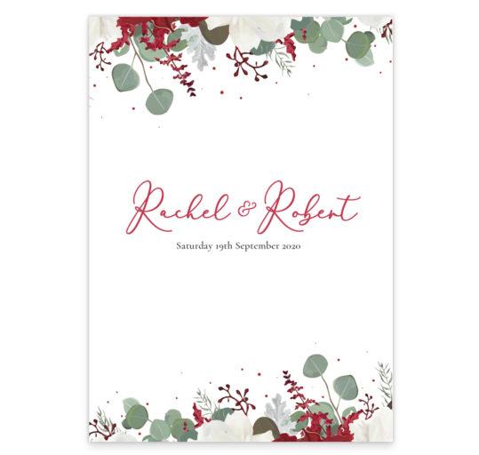 Ruby Rouge Flat Wedding Invitation back